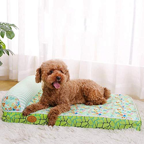 AHP Cama del Perro, Almohadas de Espuma con el pequeño, Mediano, Grande Cama ortopédica del Perro Animales, Masaje Estera de la Cama del Animal doméstico,Verde,L