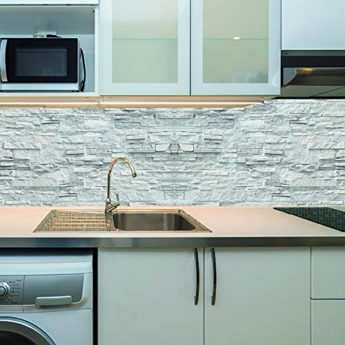 KLINOO Küchenrückwand in Steinkoptik als Spritzschutz - Wandschutz - alle Untergründe (verdeckt Fugen) - zuschneidbar/erweiterbar - geruchsneutral - wiederablösbar - 136cm x 48cm (Steine hell)