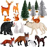 Skylety 18 Piece Woodland Animals Figurines Woodland Creatures Figurines Realistic Plastic Wild Forest Animals Figurines for New Year Birthday Christmas Party