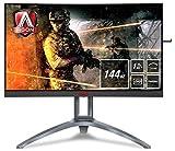 AOC AGON AG273QCX 68 cm (27 Zoll) Curved Monitor (HDMI, DisplayPort, USB Hub, Free-Sync2, 1ms Reaktionszeit, HDR 400, 2560 x 1440, 144Hz) schwarz/rot