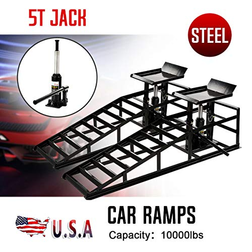 For Sale! 9TRADING A Pair Auto Car Service Ramps Lifts Heavy Duty Hydraulic Lift Repair Frame Black