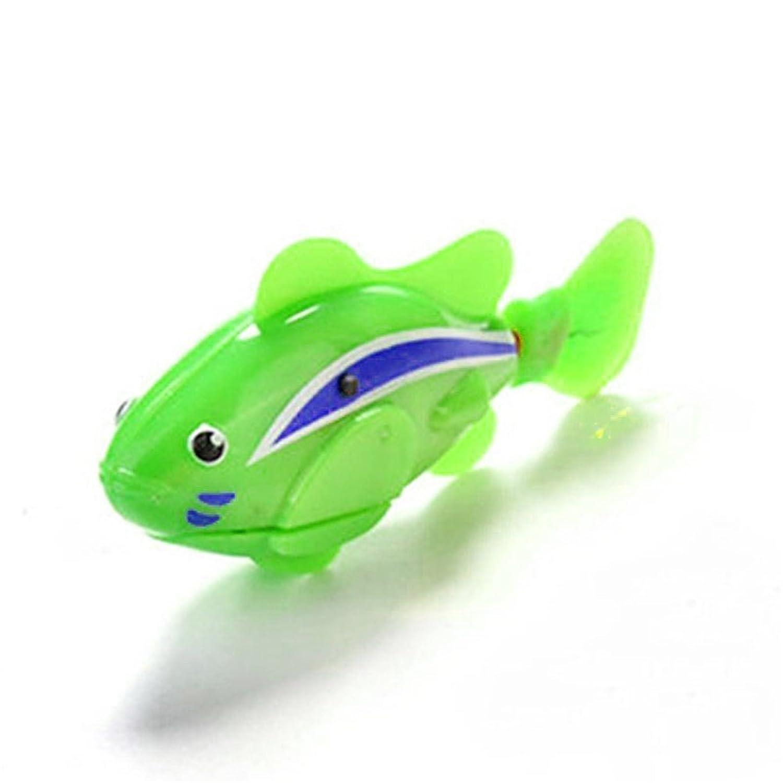 Liebeye 入浴のおもちゃ 電動フィッシュ かわいい漫画の電気魚クリエイティブ小さな魚の泳ぐグレートバス子供のためのおもちゃおもちゃ グリーングリーン