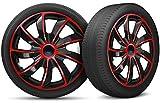 moto-MOLTICO Auto Radkappen Radzierblenden 4er Set passend für alle Stahlfelgen - Einstellbarer Sicherungsring - 14 Zoll - Schwarz Rot
