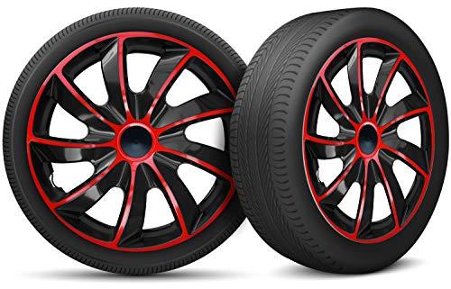 moto-MOLTICO Auto Radkappen Radzierblenden 4er Set passend für alle Stahlfelgen - Einstellbarer Sicherungsring - 15 Zoll - Schwarz Rot