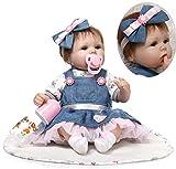 ZIYIUI Handmade Soft Silicone 18 inch Reborn Baby Doll Girl Lifelike Blue Eyes Newborn Girl Toy Doll That Look Real Child's Vinyl Birthday Gift