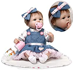 Size:18 inch(45 cm);Weight:about 1.2KG(2.6LB).The doll is handmade,will be some error in the size and weight. Head,arms and legs:Soft Simulation Silicone Vinyl,Body:Cloth filled with cotton,very soft. Hair:High Quality Mohair,Manual implantation,can ...