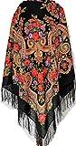 Bonita y auténtica bufanda chal echarpe negro de Pavlovo Posad mantón ruso, Paisley Folk estola con estampado floral, 100% lana, con flecos de seda, 125cm x 125cm