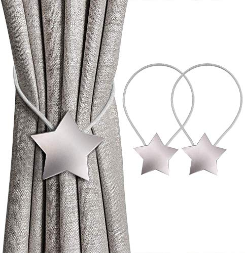 Sorfia Magnetic Curtain Tiebacks Clips Decorative Rope Holdbacks, 2 Pack Star Drapery Tie Backs Weave Holder for Window Draperies Hold Curtains Drape Ties Backs Holdback, Bedroom Home Décor