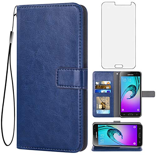 Asuwish Compatible with Samsung Galaxy J3 2016/J 3 V/J36V/Sky/Amp Prime Wallet Case Tempered Glass Screen Protector Flip Cover Card Holder Accessories Phone Cases for Glaxay Sol J3V JV3 J320V Blue