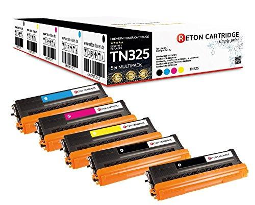5 Reton Toner (80% mehr Leistung) kompatibel zu TN-325C TN-325BK TN-325M TN-325Y für Brother HL-4140cn HL-4150cdn HL-4170cdw MFC-9460cdn MFC-9465cdn MFC-9970cdw DCP-9055cdn DCP-9270cdn