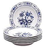 KAHLA 17A102A72067U Zwiebelmuster blauweiß Tellerset für 6 Personen Porzellan 6-teilig Suppenteller Blumendekor Tiefe Teller rund Nudelteller