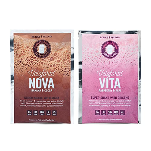 Veloforte Mixed Protein Recovery Shake Pack - Natural Super-Blend of Complete Protein & Electrolytes - Nova- Banana & Cocoa + Vita- Raspberry & Acai Flavours (12)