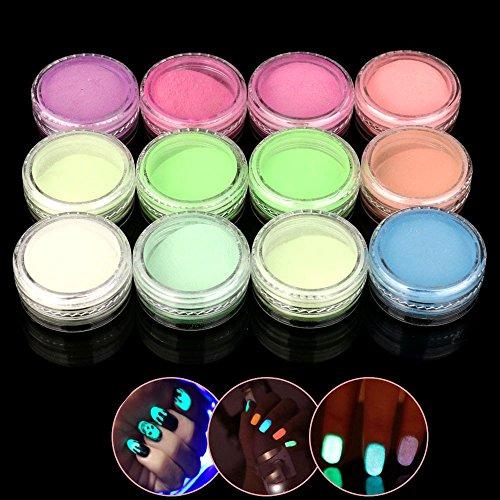 12 Bunte Nail Art Fluoreszierende Powder Nail Dekoration für Glow in Dark Kit 1 Satz Nagel leuchtenden Pulver (Farbe)