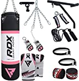RDX Women Punching Bag Filled Set Pink Ladies Kick Boxing Heavy MMA Training Gloves Punch Mitts Hanging Chain Wall Bracket Anchor Rope Muay Thai Martial Arts 4FT