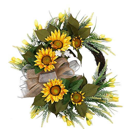 Lovely Sunflower Wreath with Bow and Lots of Greenery