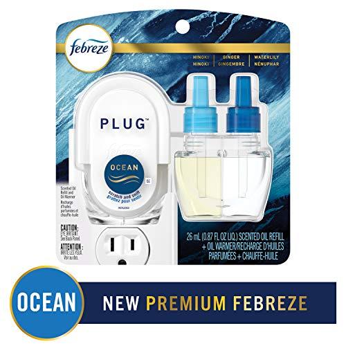 Febreze Odor-Eliminating Plug Air Freshener Refill + Oil Warmer, Ocean, 1 Ct