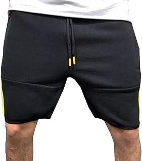 a1bbbadb69 flywinner Mens Zipper Pocket Elastic Waist Shorts Color Block Straight  Shorts