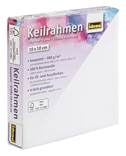Idena 60009 Keilrahmen mit Leinwand aus 100% Baumwolle, 380 g/m², für Ölund Acrylfarben, 10 x 10 cm, weiß