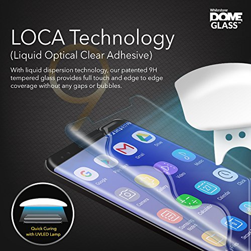 Dome Glass Galaxy S9+ Screen Protector Tempered Glass Shield, Full Screen Coverage 3D Curved [Liquid Dispersion Tech] Easy Install Tray and UV Light by Whitestone for Samsung Galaxy S9 Plus (2018)
