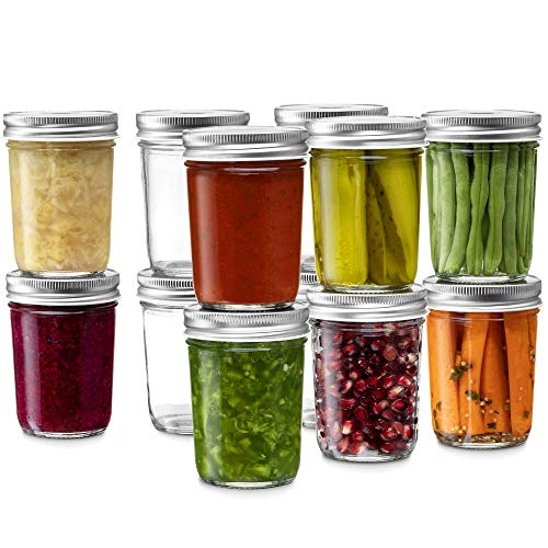 Glass Regular Mouth Mason Jars, 8 Ounce Glass Jars with Silver Metal Airtight Lids for Meal Prep, Food Storage, Canning, Drinking, for Overnight Oats, Jelly, Dry Food, Spices, Salads, Yogurt (12 Pack)