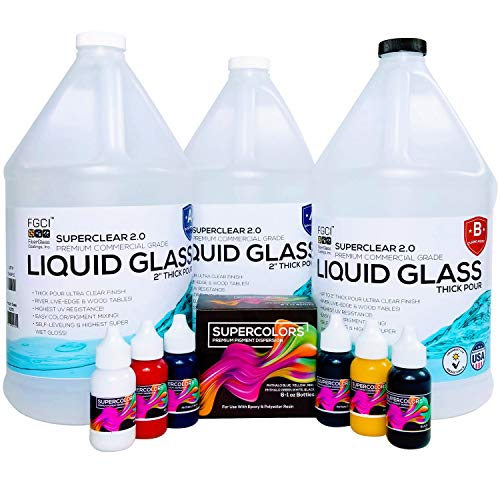 DEEP POUR Epoxy Resin Crystal Clear LIQUID GLASS, SUPER COLORS PIGMENT KIT 2-4 inch 3 GL Resin Kit - Self Leveling, Clear Resin Epoxy, Perfect Epoxy Resin Table DIY, Deep Resin Molds, River Table, 2:1