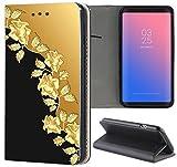 Samsung Galaxy Xcover 4 Hülle Premium Smart Einseitig Flipcover Hülle Galaxy Xcover 4 Flip Case Handyhülle Samsung Galaxy Xcover 4 Motiv (1368 Rosen Ranke Gold Farben Schwarz)