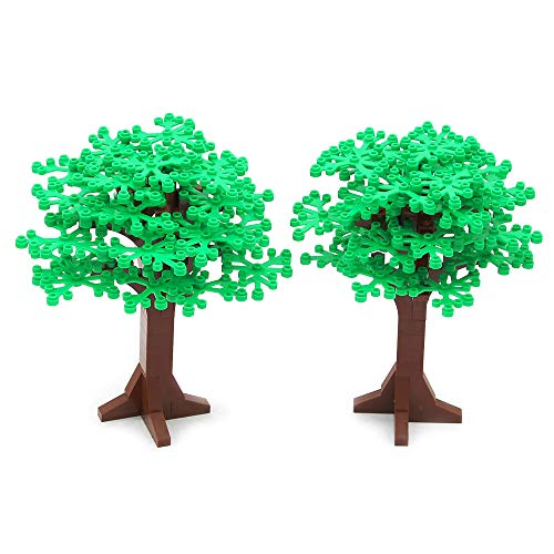 Feleph City Großen Bäume, Straße Grün Pflanzen Spielzeug Bausteine 6,7 Zoll Höhe, Garten Park Wald Bäume Spielzeugset für Kinder, Kompatibel mit Allen Marken (2 stücke)