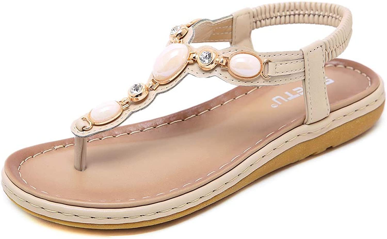 Women Elastic Sparkle Jeweled Summer Flat Rhinestones Sandals Bohemia Style shoes Flip Flops,Apricot,36