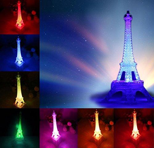 Cambio de color romántico Torre Eiffel Luz de la noche del LED Lámparas de mesa Decoración del hogar del dormitorio By LMMVP (B(10.5 * 10.5 * 26cm), multicolor)