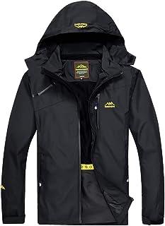 YXP Men's Waterproof Rain Jacket Windproof Raincoat Outdoor Hooded Windbreaker