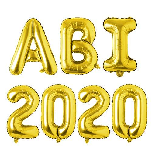 ABI 2020 Deko Folienballon, Abitur 2020 Deko Luftballons Girlande, Ballons ABI 2020 Gold Buchstabe, Balons Abschluss, Deko für die Abi-Feier / Schul Abschluss / Dekoration Aula Gymnasium, Größe 81CM