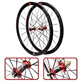 ZNND Ultra-Light 700C Fahrrad-Rad-Set 40mm Carbon-Faser-Schlauch-Hub Rennrad Laufradsatz V/C Brems (Color : Red)