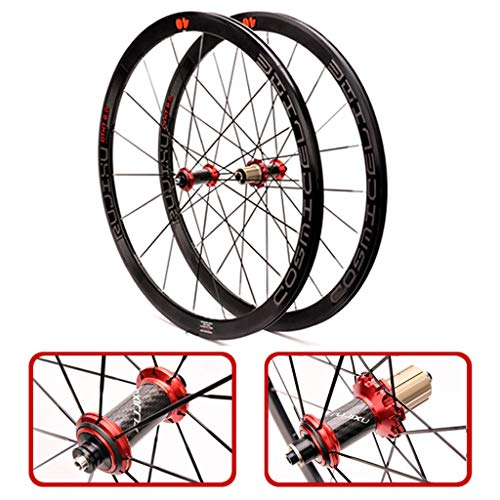 ZNND 700C Ultraligero Bicicleta Conjunto De Rueda 40 Mm De Fibra De Carbono del Tubo Concentrador De Carretera Rueda De Bicicleta Set V/C De Frenos (Color : Red)