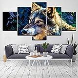 YQSL Peintures sur Toile Le Berger Allemand Chien Animal 5 pièce Fonds d'écran Art Toile Impression Affiche Art Peinture décor à la Maison Impressions sur Toile