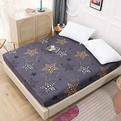 ZJXSNEH 2021 Funda de colchón de Cama con impresión Funda Protectora de colchón Impermeable Sábana Ajustable Ropa de Cama de Agua separada con elástico,Talla 180X200+30cm