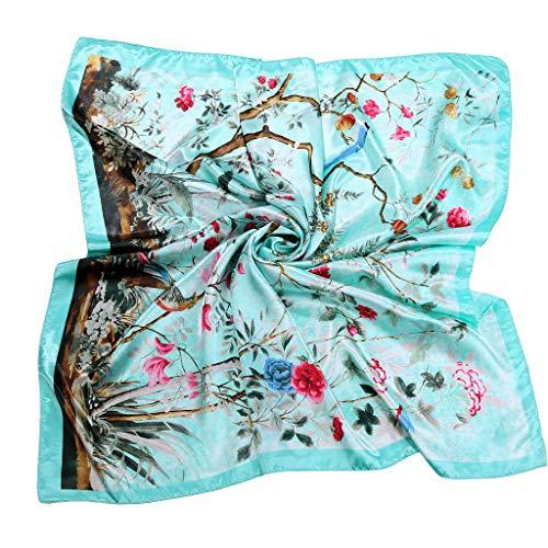 Heetey - Pañuelo para el cuello para mujer, elegante, cuadrado, con flecos, de seda, estampado suave, 90 x 90 cm