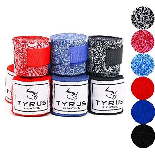 TYRUS Fighting Boxbandagen für Kampfsport | Elastische Hand Bandagen für Boxen, MMA, Kickboxen, Muai Thai [4m Bandagen mit Daumenschlaufe] (Paisley Schwarz)