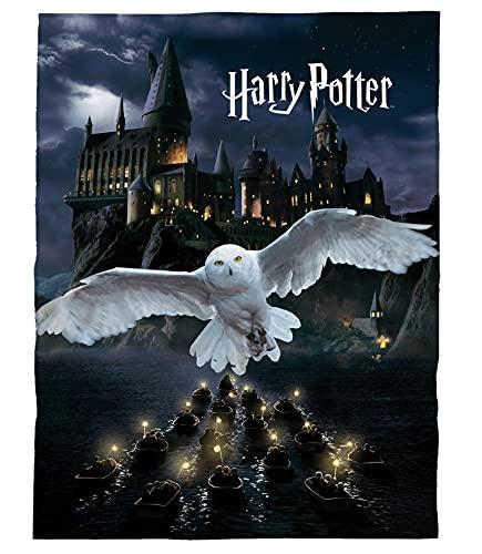 Manta de forro polar de Harry Potter, 150 x 200 cm, diseño de búho, color negro
