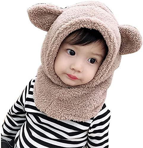 Cagoule Calotte Automne Hiver,Tukistore Bonnet Cache Cou Enfant Cagoule Bebe Garcon Fille Cache Oreilles Capuche Chapeaux, Beige, Taille M