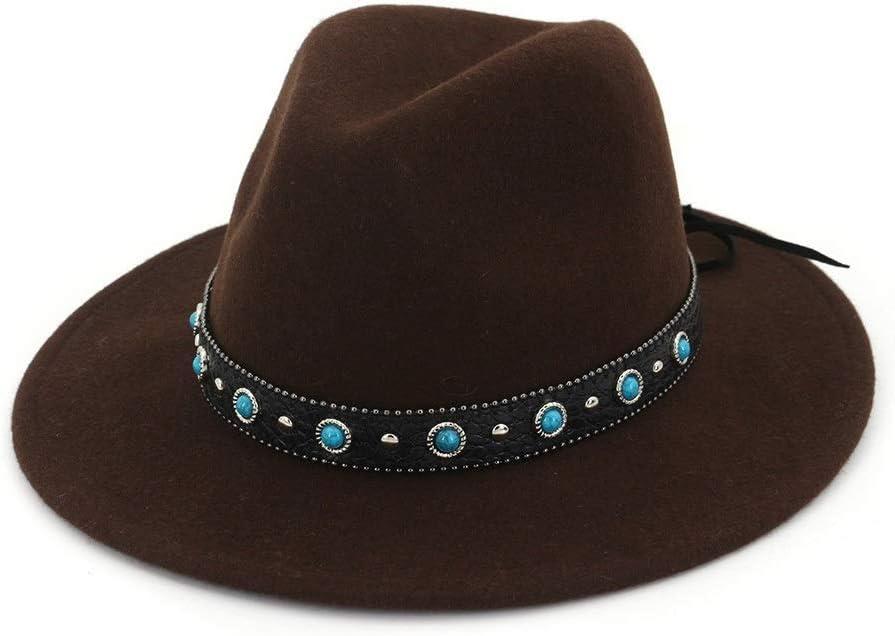 No-branded Men Women Fedora Hat with Punk Belt Wide Brim Hat Adult Church Hat Winter Outdoor Fascinator Hat ZRZZUS (Color : Drak Coffee, Size : 56-58)
