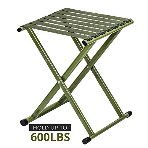 Folding Stool 17.8 Height, Super Strong Heavy Duty Outdoor Portable Folding Chair Hold up to 650 lbs, Unfold Size 13.9(L) x14.3(W) x17.8(H) Inch Pack of One (Large)
