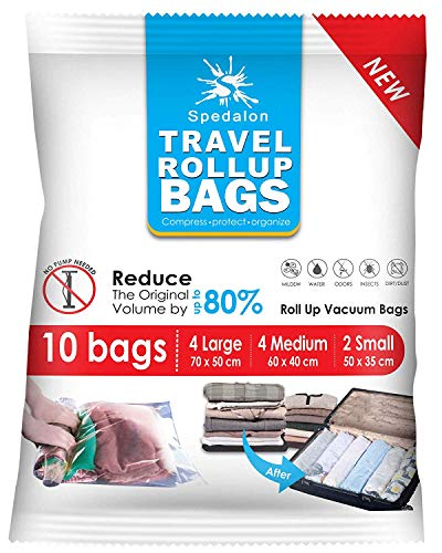 Travel Roll Up Compression Bags For Travelling - Pack of 10 (Medium to...