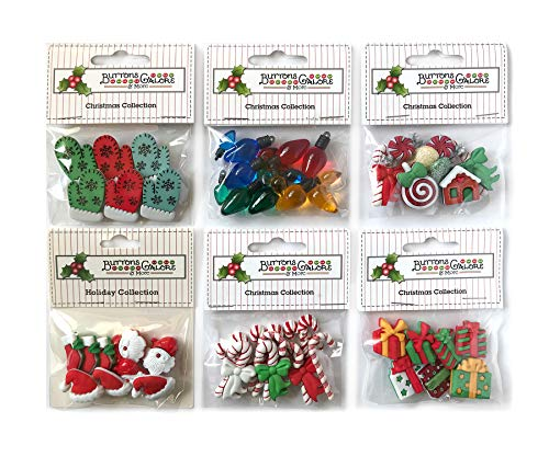 Buttons Galore 50+ Assorted Christmas Buttons for Sewing & Crafts - Set of 6 Button Packs - Candy Canes, Santa, Lights & More