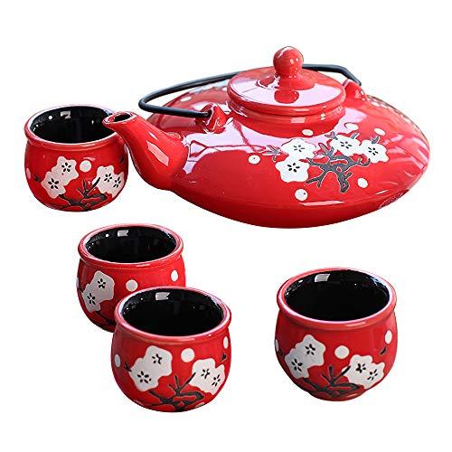 Panbado Juego de Teteras con 4 Tazas de Cerámica de Estilo Japonés Juegos de Café de Porcelana Tetera de Té Kungfu de Viaje Portátil, Regalo para Cumpleaños, Navidad, San Valentín - Rojo