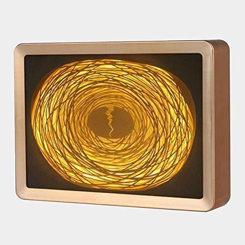 GEZHF Papercut - Caja de luz creativa 3D con lámpara de pintura de sombra decorativa alimentada por USB, regalo de amistad para los mejores amigos (color: rojo)-rojo