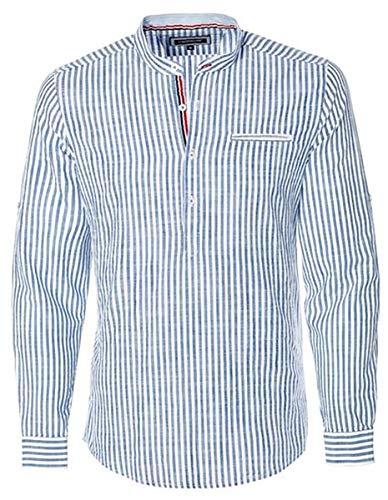 CARISMA Herren Fischerhemd Leinen Blau/Weiß CRM8454 L