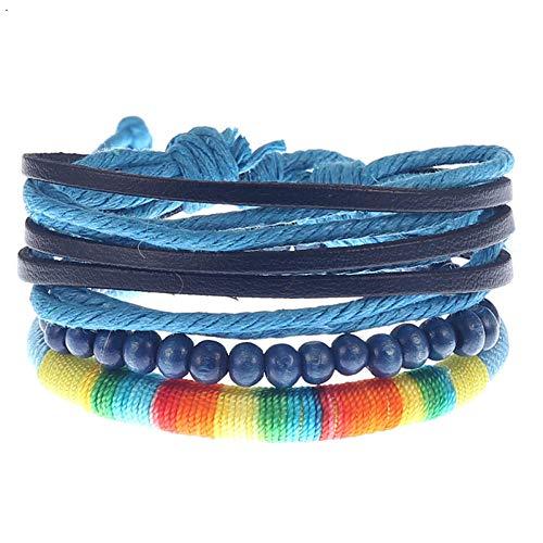 ABWEY Pulsera de cuero tejida a mano retro simple, conjunto de múltiples capas de pulsera de ancla de cuero de aleación-O