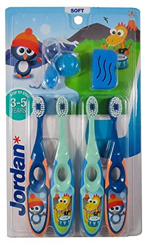 Jordan ® | Step 2 Zahnbürste Kinder | Kinder zahnbürste für 3-5 Jahre | Weiche Borsten, doppelter ergonomischer Griff & BPA-frei | Grüne und Blaue Farbe | Pack 4 Einheiten