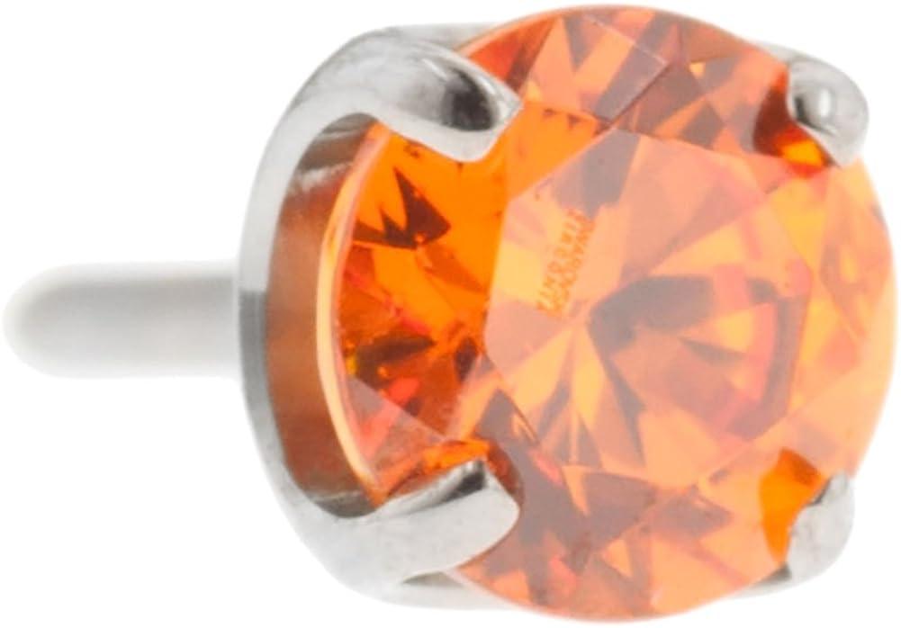 Steel Navel Body Jewelry Threadless Titanium Prong-Set Faceted Gem End: 18g High Polish, Gem: 3mm, Orange Gem