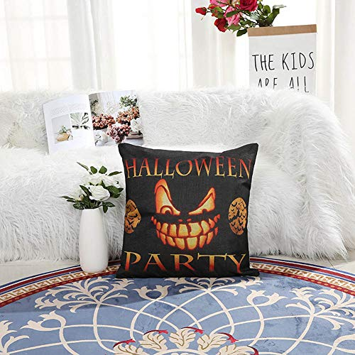 YEARGER Set of 4 Optional Halloween Throw Pillow Covers Trick or Treat Pumpkin Cotton Linen Home Decor Cushion Case for Sofa Couch 18x18 Inch,3PC*A